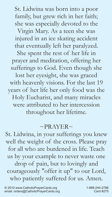 St Lidwina Prayer