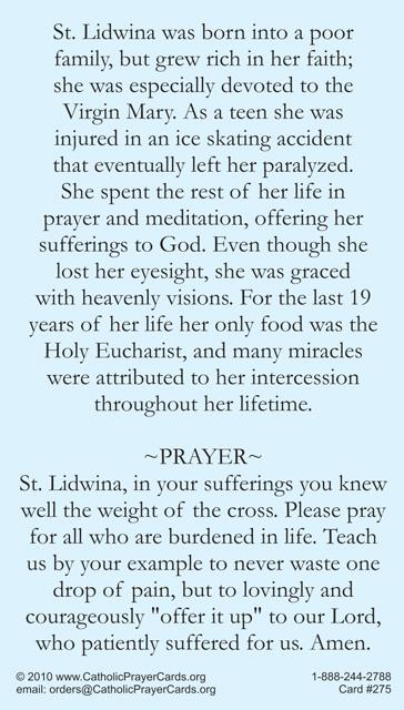 St Lidwina Prayer